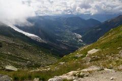 Valle di Chamonix nelle alpi della Francia Fotografia Stock