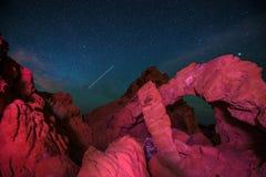 Valle di fuoco alla notte Fotografie Stock Libere da Diritti