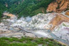 Valle di Jigokudani o valle dell'inferno in Noboribetsu, Hokkaido Giappone immagine stock
