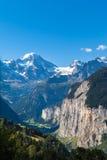 Valle di Lauterbrunnen e di Breithorn Fotografia Stock