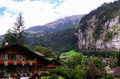 Valle di Lauterbrunnen, regione di Jungfrau, Svizzera Immagine Stock