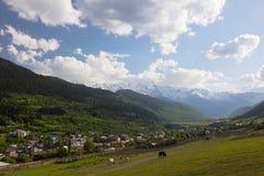 Valle di Mestia. Svaneti superiore. Georgia. Immagine Stock Libera da Diritti