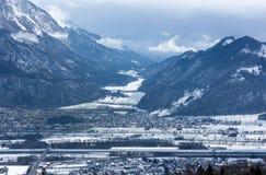 Valle di Rheintal in alpi svizzere Fotografia Stock