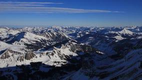Valle di Saanenland nell'inverno Fotografie Stock