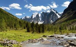 Valle di szavlo di Savlo e parete rocciosa - altai Immagine Stock Libera da Diritti