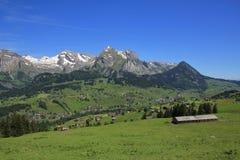 Valle di Toggenburg e Mt Saentis in primavera Immagine Stock Libera da Diritti