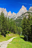 Valle di Vaiolet - di Dolomiti Immagini Stock
