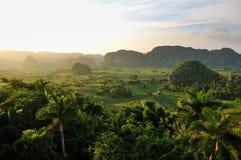 Valle di Vinales al tramonto Fotografia Stock