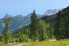 Valle di Zillertal in alpi europee Austria nell'ora legale Immagine Stock