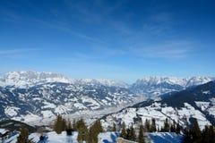 Valle e montagne Wagrain e Alpendorf vicini Fotografia Stock