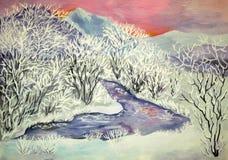 Valle en la helada stock de ilustración