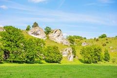 Valle Eselsburger Tal - rocce impressionanti Fotografia Stock Libera da Diritti