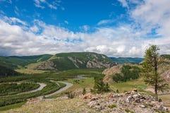 Valle, foresta, fiume, cielo blu e nuvole della montagna Fotografie Stock