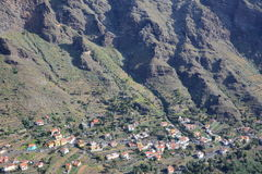 VALLE GRAN REY, LA GOMERA, SPAIN: General view of the valley with terraced fields and mountains. General view of the valley with terraced fields and mountains stock photo