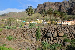 VALLE GRAN REY, LA GOMERA, SPAIN: View of Chele village with terraced fields and mountains stock image