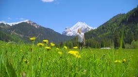 Valle hermoso en las montañas italianas almacen de metraje de vídeo