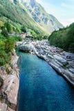 Valle il Ticino Svizzera di Verzasca Immagini Stock Libere da Diritti