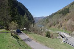 Valle Malvaglia Switzerland with Beetle on the road. stock photography