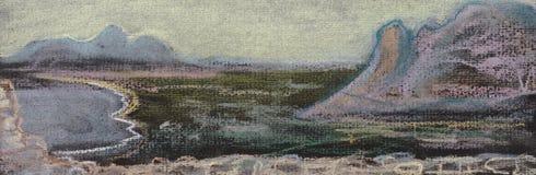 Valle, mar y montañas ilustración del vector