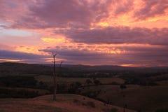 Valle nublado colorido Victoria Australia del Acheron de la salida del sol Imagen de archivo