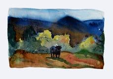 valle Paisaje de la acuarela con una vaca libre illustration
