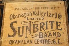 Valle-punto di riferimento di Okanagan per la copertina d'annata di eventi della frutta Immagini Stock