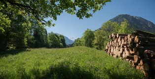 Valle rurale del trettach del paesaggio vicino ad Oberstdorf Immagini Stock Libere da Diritti