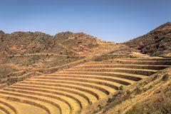 Valle sagrado, Perú - 2 de agosto de 2017: Ruinas antiguas de Pisac adentro fotografía de archivo libre de regalías