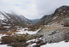 Valle scenica di Geiranger, montagna di Dalsnibba, paesaggio norway fotografia stock libera da diritti