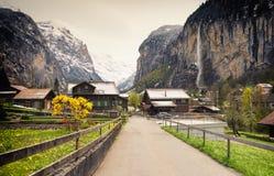 Valle stupefacente in alpi, regione di Jungfrau, Svizzera Immagine Stock Libera da Diritti