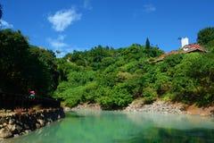Valle termica di Beitou - è stata sfruttata nel 1911, una fonte di sorgente di acqua calda verde dello zolfo in Taiwan Immagine Stock