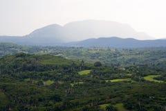 Valle tropical con las altas montañas Foto de archivo