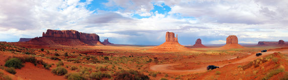 Vallée unie Arizona Utah de monument de panorama d'état Photographie stock