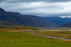 Valle verde e cielo dell'annuvolamento in Islanda Fotografia Stock