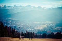Valle verde en las altas montañas de Tatra en Zakopane, Polonia. Fotos de archivo