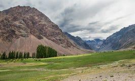 Valle verde entre las montañas Fotografía de archivo libre de regalías