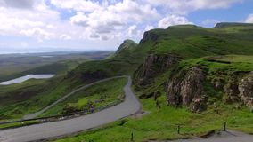 Green valley in mountain Quiraing, Scotland, United Kingdom Stock Footage