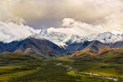 Valle verde y montañas de Polycrhrome en Denali imagen de archivo libre de regalías