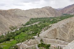 Valle vicino al monastero di Tingmosgang, Ladakh, India Immagine Stock Libera da Diritti