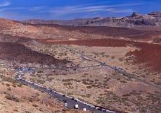 Valle vulcanica vicino al vulcano Teide con cielo blu Immagini Stock Libere da Diritti