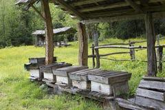 Valle y colmenar de la opinión del verano en el pueblo viejo Fotografía de archivo libre de regalías
