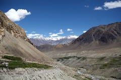 Valle y el paso de Khardung, Ladakh, la India de Nubra Imagen de archivo