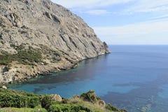Valle y golfo Cala Boquer, Majorca, España de Boquer foto de archivo