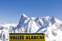 Vallee Blanche signboard Royalty Free Stock Photos