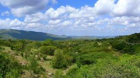 Vallei. Beboste bergen in de afstand. Landschapsaard. Af stock afbeelding