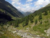 Vallei in de bergen van de Kaukasus Stock Afbeelding