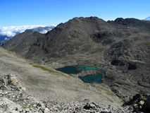 Vallei in de bergen van de Kaukasus Stock Foto