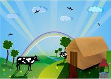 Vallei, de vector van het Landbouwbedrijf Stock Afbeelding