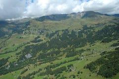 Vallei en Grindelwald-stad in Zwitserland Stock Afbeeldingen