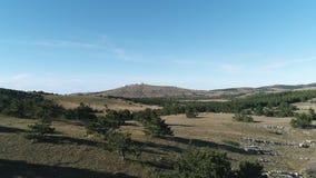 Vallei met naaldbomen en sparren tegen blauwe hemel schot Toneelmeningen van de heuvel in de afstand stock videobeelden